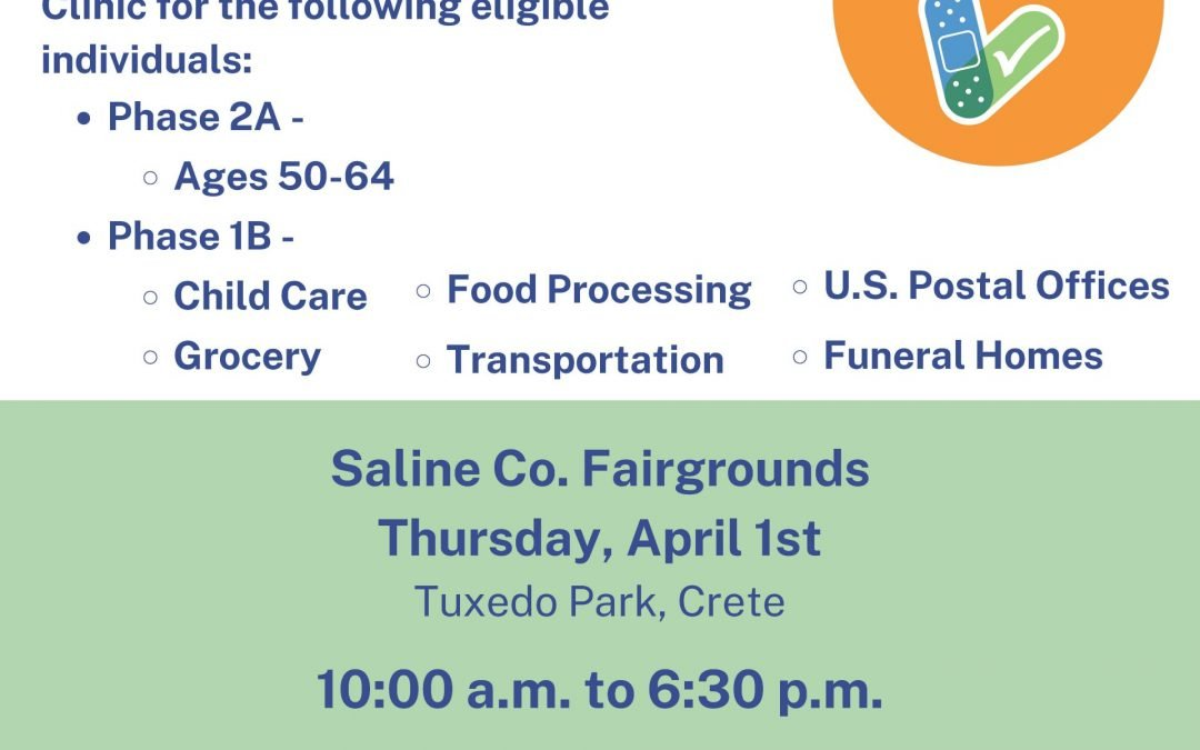 Upcoming Community COVID-19 Vaccine Clinic – Saline County