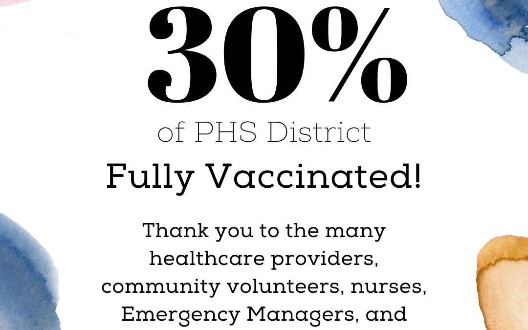 4.16.2021 PHS Reports Milestone of 30% of District Fully Vaccinated
