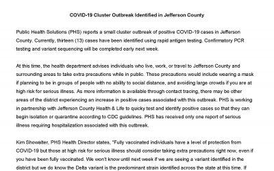 7.10.2120 – Covid-19 Cluster Outbreak Identified in Jefferson County