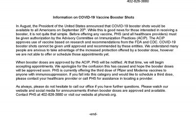 Information on COVID-19 Vaccine Booster Shots